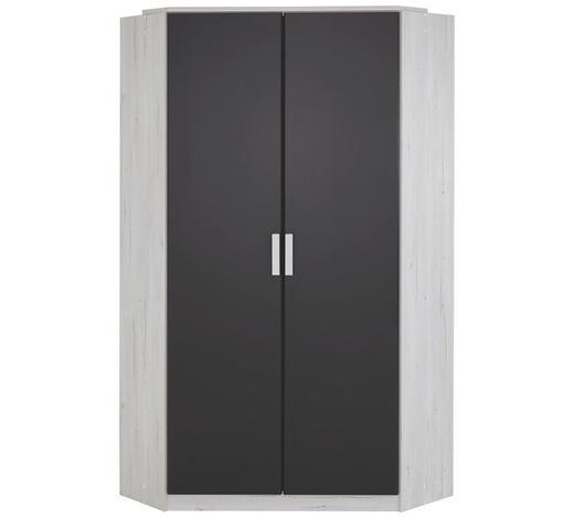 ECKSCHRANK Graphitfarben, Weiß - Graphitfarben/Weiß, Design, Holzwerkstoff/Kunststoff (95/95cm) - Carryhome