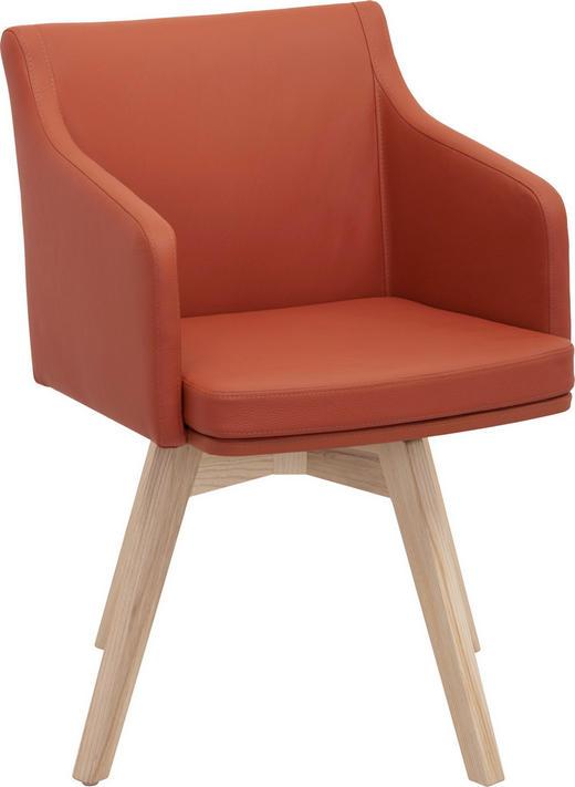 STUHL in Holz, Leder Eschefarben, Orange - Eschefarben/Orange, Natur, Leder/Holz (56/82,5/59cm) - Invivus