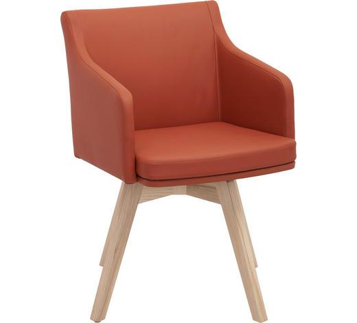 STUHL in Holz, Leder Orange, Eschefarben - Eschefarben/Orange, Natur, Leder/Holz (56/82,5/59cm) - Invivus