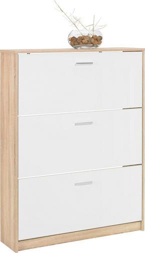SKOSKÅP MED LUCKOR - vit/kromfärg, Design, träbaserade material/plast (93/124/25cm)