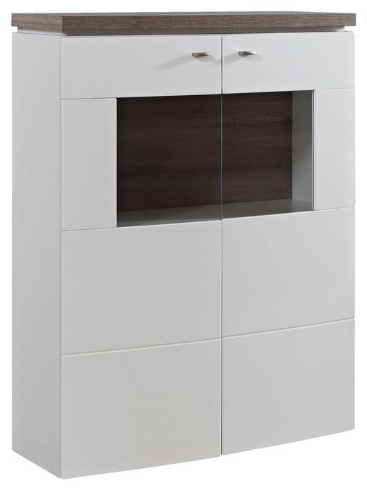 HIGHBOARD Hochglanz Eichefarben, Weiß - Eichefarben/Weiß, Design, Glas/Holzwerkstoff (90/125/42cm) - Stylife