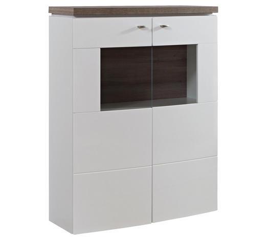 HIGHBOARD Hochglanz Weiß, Eichefarben  - Eichefarben/Weiß, Design, Glas/Holzwerkstoff (90/125/42cm) - Stylife
