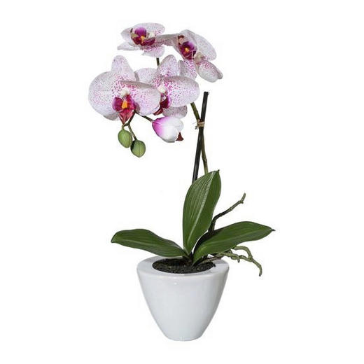 KUNSTBLUME Orchidee - Lila/Weiß, LIFESTYLE, Kunststoff/Metall (36cm)