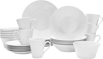 KOMBISERVICE 30-teilig - Weiß, Basics, Keramik - BOXXX