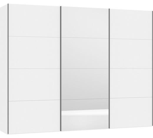 SCHWEBETÜRENSCHRANK in Weiß - Silberfarben/Weiß, Design, Glas/Holzwerkstoff (303,1/236/65cm) - Jutzler