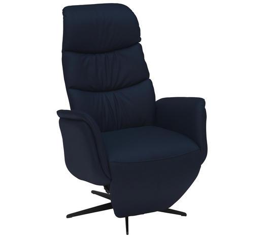 RELAXSESSEL in Leder Blau - Blau/Schwarz, Design, Leder/Metall (77/114/86cm) - Welnova