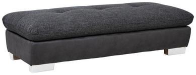 HOCKER Chenille Dunkelgrau  - Chromfarben/Dunkelgrau, Design, Textil (156/43/74cm) - Xora