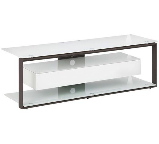 TV-RACK Metall, Glas Anthrazit, Weiß  - Anthrazit/Weiß, KONVENTIONELL, Glas/Metall (130/42/40cm)
