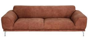 SOFA in Leder Braun - Chromfarben/Braun, Design, Leder/Metall (241/75/92cm) - Valnatura