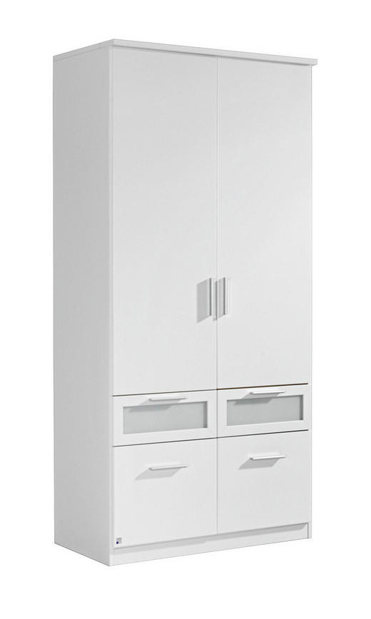 DREHTÜRENSCHRANK 2  -türig Weiß - Alufarben/Weiß, Design, Glas/Holzwerkstoff (91/199/56cm) - CARRYHOME