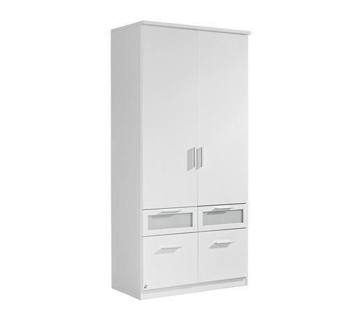 DREHTÜRENSCHRANK 2-türig Weiß - Alufarben/Weiß, Design, Glas/Holzwerkstoff (91/199/56cm) - Carryhome
