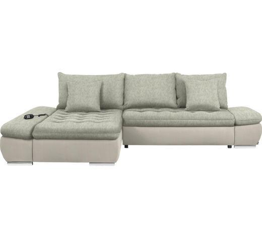 WOHNLANDSCHAFT in Textil Naturfarben, Beige  - Chromfarben/Beige, Design, Textil/Metall (200/309cm) - Hom`in