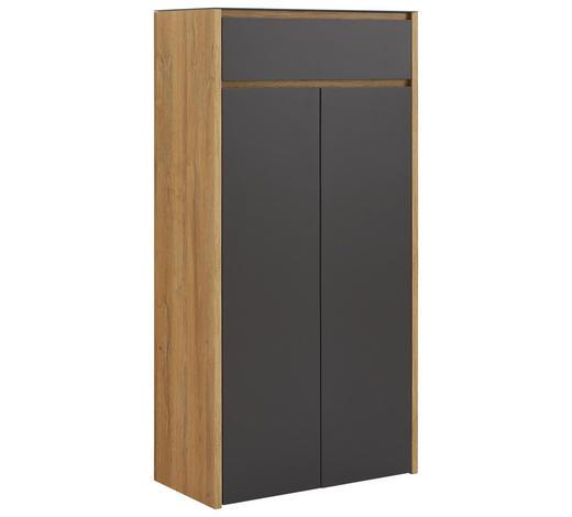 SCHUHSCHRANK 68/132,3/34 cm - Eichefarben/Anthrazit, Design, Glas/Holzwerkstoff (68/132,3/34cm) - Voleo