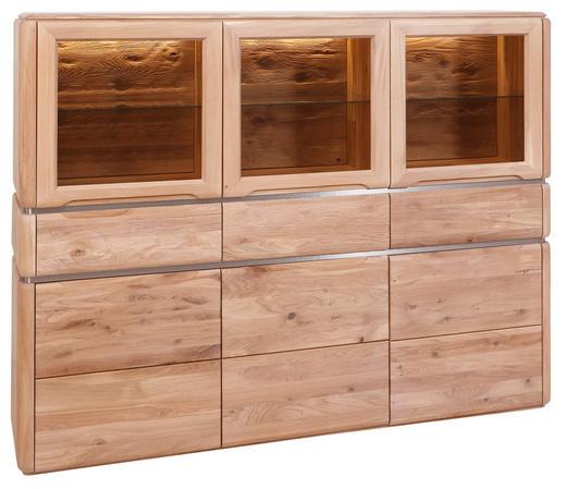 HIGHBOARD Wildeiche massiv Eichefarben - Eichefarben, MODERN, Glas/Holz (181/140/40cm) - VENDA