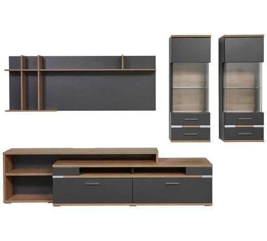WOHNWAND Graphitfarben, Eichefarben  - Eichefarben/Silberfarben, Design, Glas/Holzwerkstoff (310/190,1/50cm) - Hom`in