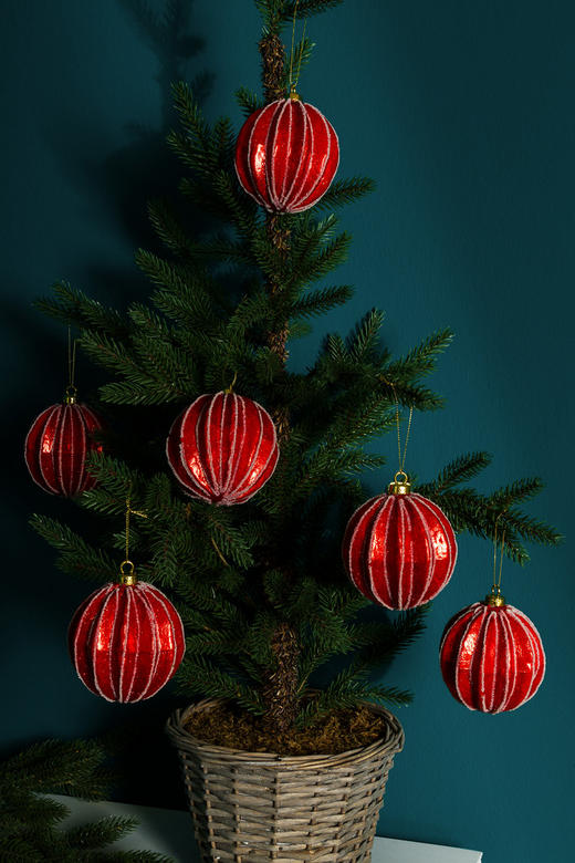 CHRISTBAUMKUGEL-SET  6-teilig Rot - Rot, Kunststoff (8cm)