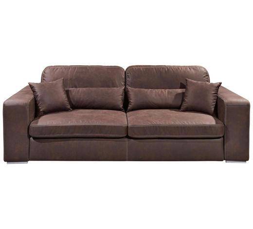 MEGASOFA in Textil, Holzwerkstoff Dunkelbraun - Hellbraun/Dunkelbraun, KONVENTIONELL, Holzwerkstoff/Kunststoff (250/92/127cm) - Carryhome