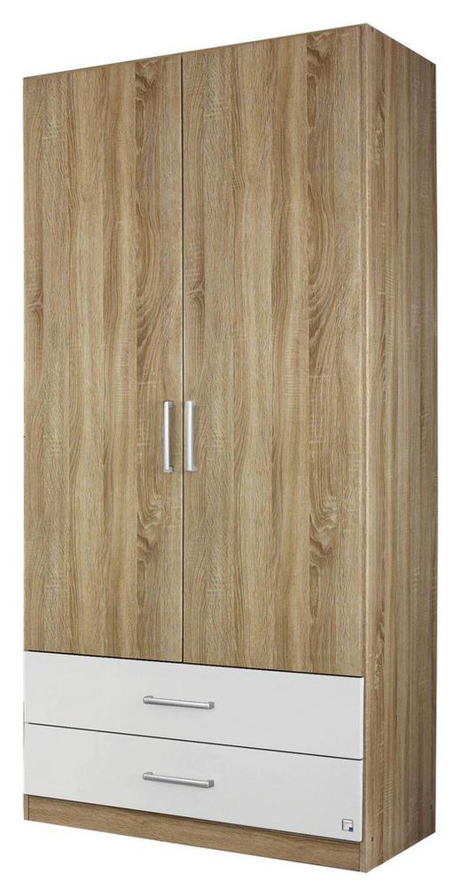 DREHTÜRENSCHRANK Eichefarben, Weiß - Eichefarben/Silberfarben, Design, Holzwerkstoff/Kunststoff (91/197/54cm) - Carryhome