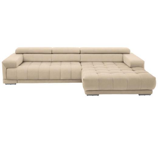 WOHNLANDSCHAFT in Textil Beige - Beige/Silberfarben, Design, Textil/Metall (335/190cm) - Beldomo Style