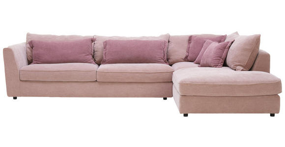 WOHNLANDSCHAFT in Textil Altrosa, Rosa - Schwarz/Altrosa, ROMANTIK / LANDHAUS, Kunststoff/Textil (329/225cm) - Valnatura