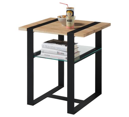 COUCHTISCH in Holz, Metall, Glas 50/40/50 cm - Eichefarben/Schwarz, Design, Glas/Holz (50/40/50cm) - Hom`in