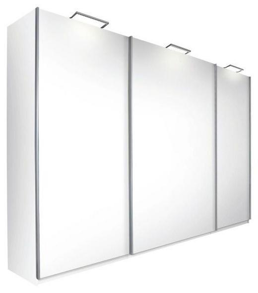 SCHWEBETÜRENSCHRANK 3-türig Weiß - Alufarben/Weiß, Design, Holzwerkstoff/Metall (315/223/69cm) - Carryhome