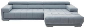 WOHNLANDSCHAFT in Hellblau Textil - Silberfarben/Hellblau, Design, Textil/Metall (335/190cm) - BELDOMO STYLE