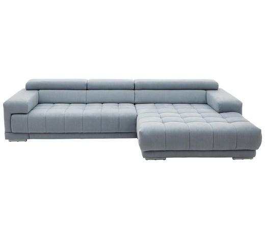 WOHNLANDSCHAFT in Textil Hellblau - Silberfarben/Hellblau, Design, Textil/Metall (335/190cm) - Beldomo Style