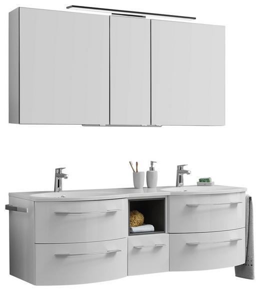 BADEZIMMER Graphitfarben, Weiß - Graphitfarben/Weiß, Design, Glas/Stein (150cm) - Welnova