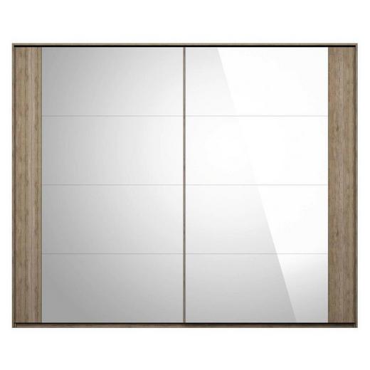 SCHWEBETÜRENSCHRANK 2-türig Eiche Eichefarben - Eichefarben, Basics, Glas/Holzwerkstoff (270/223/64cm) - Boxxx