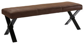 SITZBANK in Metall, Textil Braun, Schwarz  - Schwarz/Braun, MODERN, Textil/Metall (160/51/51,5cm) - Carryhome