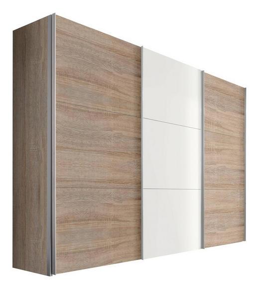 SCHWEBETÜRENSCHRANK 3-türig Weiß, Sonoma Eiche - Alufarben/Weiß, KONVENTIONELL, Holzwerkstoff/Metall (300/216/68cm) - Hom`in