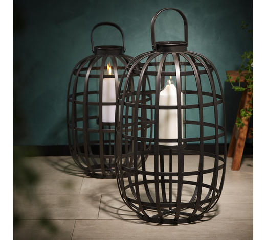 Laterne H 73cm - Transparent/Schwarz, Design, Glas/Metall (40/73cm)