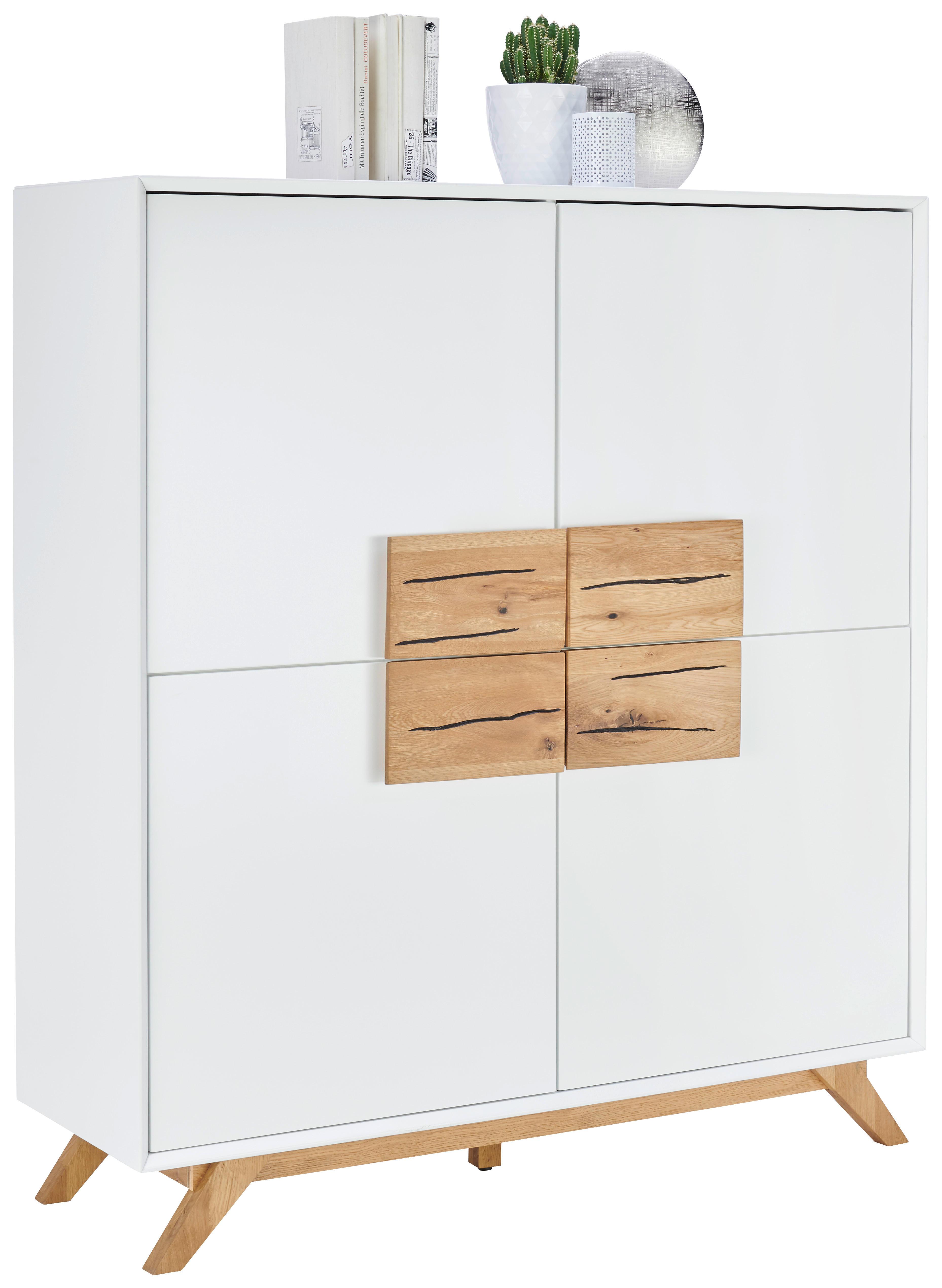 Levně Xora VYSOKÁ KOMODA, dub, bílá, barvy dubu, 120/133/40 cm - bílá, barvy dubu