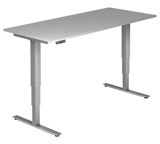 SCHREIBTISCH - Silberfarben/Grau, KONVENTIONELL, Holzwerkstoff/Metall (180/63,5-128,5/80cm)