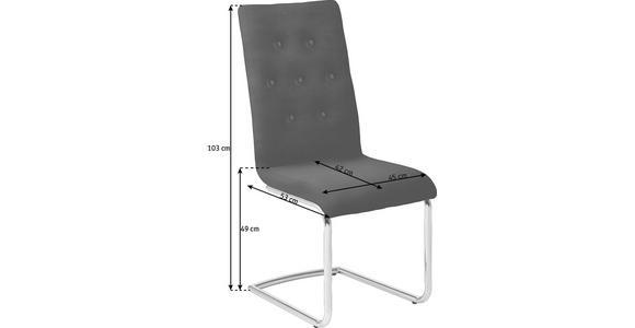 SCHWINGSTUHL in Leder, Metall Chromfarben, Dunkelrot - Chromfarben/Beige, Design, Leder/Metall (45/103/50cm) - Dieter Knoll