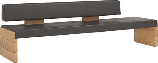 SITZBANK Echtleder Wildeiche massiv Dunkelbraun, Eichefarben - Eichefarben/Dunkelbraun, Design, Leder/Holz (274/84/65cm) - VOGLAUER