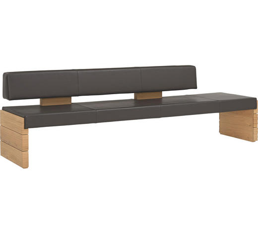 SITZBANK  in Eichefarben, Dunkelbraun  - Eichefarben/Dunkelbraun, Design, Leder/Holz (274/84/65cm) - Voglauer