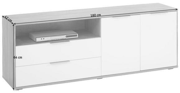 LOWBOARD 180/64/42 cm - Edelstahlfarben/Eichefarben, Design, Holzwerkstoff/Kunststoff (180/64/42cm) - Hom`in