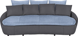 MEGASOFA in Dunkelgrau, Hellblau Textil - Dunkelgrau/Schwarz, Design, Kunststoff/Textil (238/80/143cm) - Hom`in