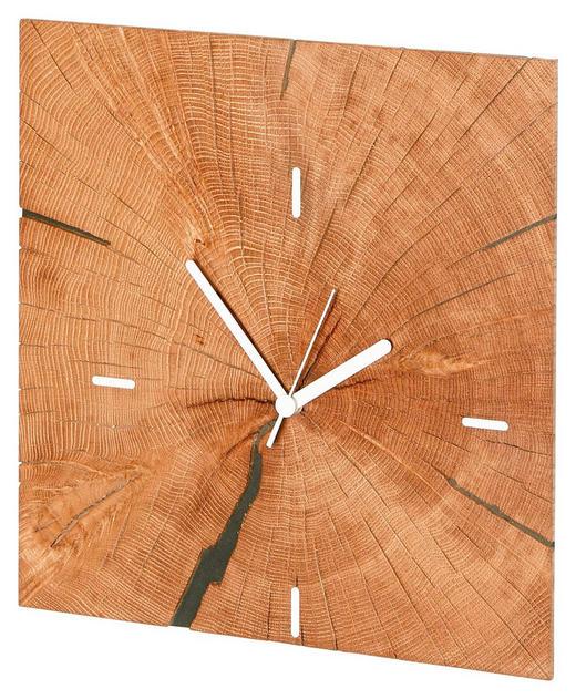 WANDUHR 34,3/34,3/5,7 cm - Eichefarben, Design, Holz (34,3/34,3/5,7cm)