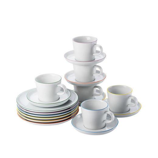 Porzellan  KAFFEESET 18-teilig - Multicolor/Weiß, Keramik