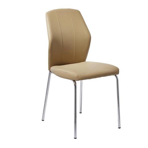 STUHL Lederlook Chromfarben, Hellbraun - Chromfarben/Hellbraun, Design, Textil/Metall (56/91,5/46,5cm) - Carryhome