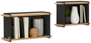 WANDREGALSET 2-teilig Eiche furniert Anthrazit, Eichefarben  - Eichefarben/Anthrazit, Design, Holz/Metall (45/35/24/24/14,5/13,5cm) - Xora