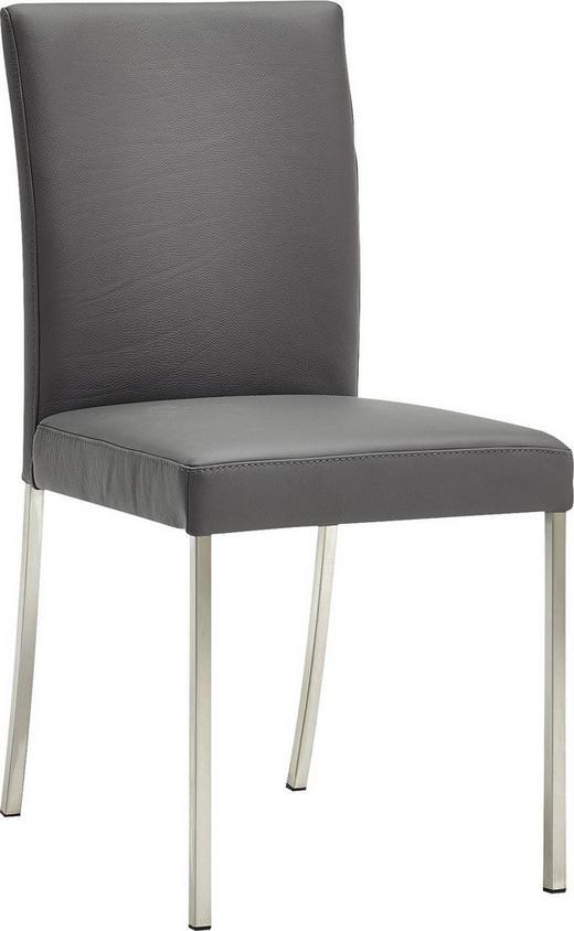 STUHL Echtleder Edelstahlfarben, Grau - Edelstahlfarben/Grau, Design, Leder/Metall (47/94/63cm) - MODERANO