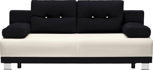 SCHLAFSOFA in Textil Schwarz, Beige - Beige/Alufarben, Design, Kunststoff/Textil (200/84/94cm) - Carryhome