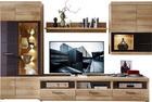 OBÝVACÍ STĚNA, barvy dubu, šedá - šedá/barvy dubu, Konvenční, kov/dřevěný materiál (300/194/54cm) - XORA