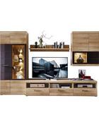 OBÝVACÍ STĚNA, šedá, barvy dubu - šedá/barvy dubu, Konvenční, kov/kompozitní dřevo (300/194/54cm) - Xora