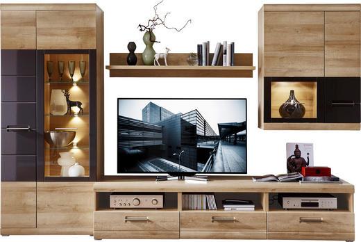 WOHNWAND Eichefarben, Grau - Eichefarben/Alufarben, Design, Glas/Holzwerkstoff (300/194/54cm) - Xora