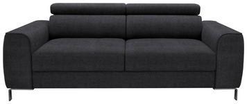 DREISITZER-SOFA in Dunkelgrau Textil - Chromfarben/Dunkelgrau, Design, Textil/Metall (199/76-96/98cm) - Hom`in